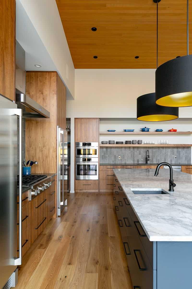 Contemporary Walnut Blue Kitchen