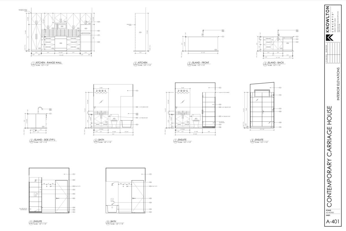 Contemporary Carriage House Interior Elevations