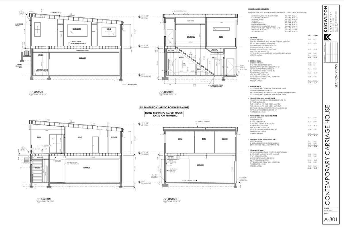 Contemporary Carriage House Section Views