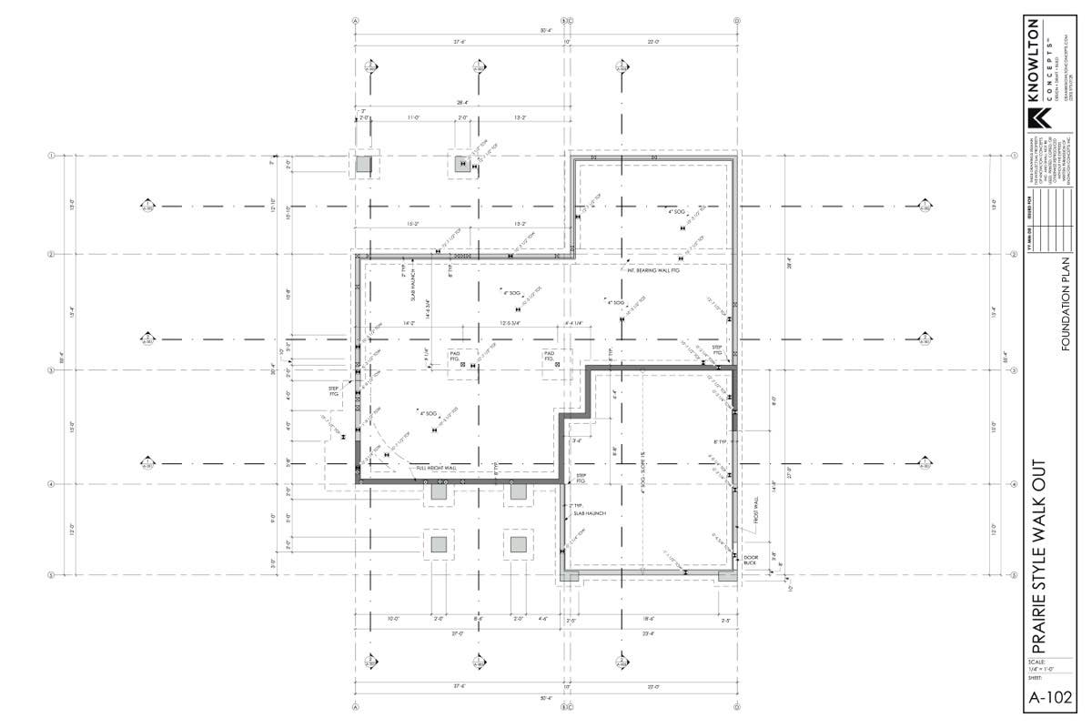 Prairie Style Walk-Out Foundation Plan