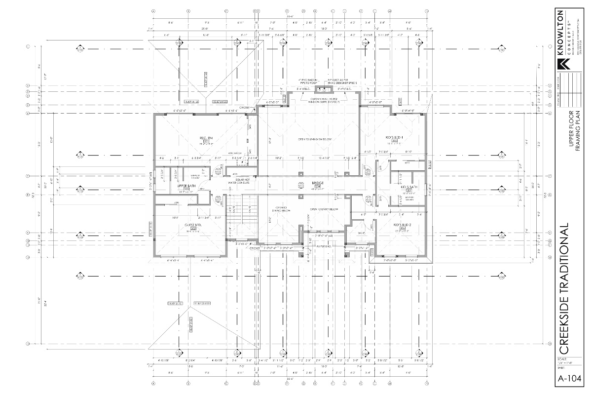Creekside Traditional Upper Floor Framing Plan